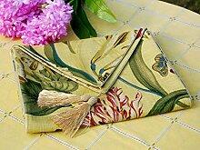 Europäische Garten Stoff Blume Reichen Stoff Tischläufer,Klassischen Land Stil Elegante Tischläufer-B 30x180cm(12x71inch)
