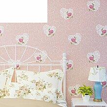 Europäische Garten Tapete/non-Woven Herz Wallpaper/Hochzeit Zimmer warme Schlafzimmer Wohnzimmer Tapete/Kinder Zimmer Wand an Wand Tapete-C