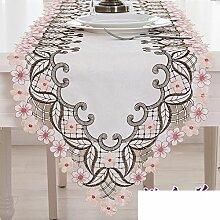 Europäische Garten TV Schrank Cover,Moderne Schlichtheit,Art Flagge Couchtisch Tuch Tischläufer-A 40x265cm(16x104inch)
