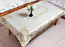Europäische Garten Wohnzimmer Couchtisch Tischdecke,Hohle Stickerei Rechteckige Tisch Tuch Tuch Tisch Tuch-Q 83x83cm(33x33inch)