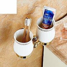 Europäische gold Tasse/Doppel - Cup./ set Messing Becher Zahnbürstenhalter-A