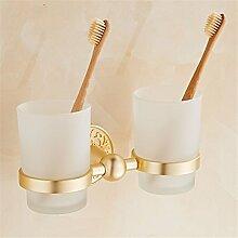 Europäische goldene Aluminium Accessoires Anzug Handtuchhalter Platzierung putzen Rack Rack, Double cup