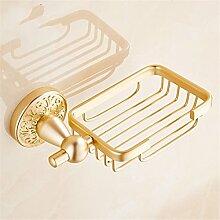 Europäische goldene Aluminium Accessoires Anzug Handtuchhalter Platzierung Rack Rack Bürsten, Seife Warenkorb
