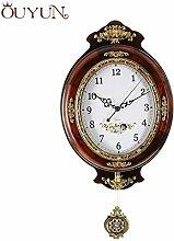 Europäische große Wanduhr modernes Design Holz- Vintage Wanduhr Pendel Uhr Mute Safe Quarz Uhrwerk Home-16 Zoll, Braun