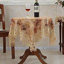 Europäische Jacquard-Tischdecke/Rundtischdecken/Spitzen Sie Tischdecke/Tischdecken/ TV Abdeckung Handtuch/ Nachttisch Servietten/Tischdecke decke-A 135x135cm(53x53inch)