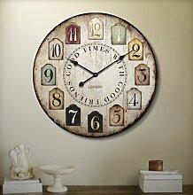 Europäische mediterrane Wohnzimmer Uhren und Uhren, Mode und kreative Persönlichkeit Uhren, Vintage-Mode stumm hängenden Tisch , other , diameter 34 cm
