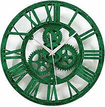 Europäische Retro Ideen Gear Wanduhr Wohnzimmer Dekoration Uhren Pfau Grün , 30cm