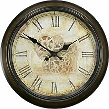 Europäische Retro Metall Mute Wanduhren Antike Wandtafeln in den Nordischen amerikanischen Rustikale Wanduhr,-10 Uhr,14 Zoll