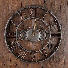Europäische Retro-Wanduhr Metall Zahnrad Uhr
