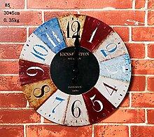 Europäische Retro Wanduhr Minimalist Wohnzimmer hängenden Uhr Creative Wood Uhren, kreative Hauptdekorationen Anhänger Restaurant Cafe Bar Büro, zu Hause Dekoration Ornamente Handwerk Anhänger by Home Déco Outlet ( Farbe : #5 )