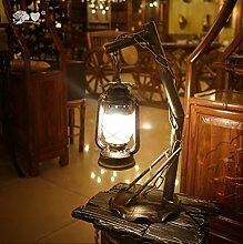Europäische Retro-Wohnzimmer-Schlafzimmerlampe kreative dekorative schmiedeeiserne Laterne Lampe Petroleumlampe teahouse