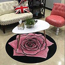 Europäische Runde Rose Teppich Mode Beliebte Teppich Wohnzimmer Schlafzimmer Stuhl Matte Große Medium Kleine ( Color : Pink , Size : Diameter 120cm )