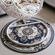 Europäische runde Teppich Nachttisch Teppich Computer Drehstuhl Stuhl Kissen Haushalt Stühle Paddel blau Stuhl Kissen , 5 , 160*160cm