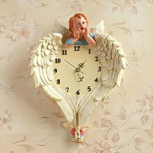 Europäische schöne Engel Wanduhr kreative europäische Harz hängender Wecker Schlafzimmer Wohnzimmer exquisite Wanduhr, Größe weibliche Engel