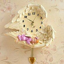 Europäische schöne Engel Wanduhr kreative europäische Harz hängender Wecker Schlafzimmer Wohnzimmer exquisite Wanduhr, Trompete weibliche Engel