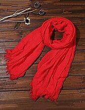 Europäische Sommer Frühling Frauen reine Farbe Sonnenschutz Schals UV Strand Handtuch langen Schal Schal großen Chiffon (11 Farben der gleichen Größe) ( Farbe : F )