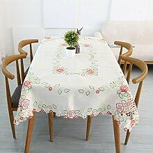 Europäische Stickerei Stickerei Pastoral Tischdecke Couchtisch Handtuch,Pink-60*60CM