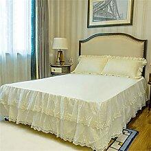 Europäische Stil Baumwolle Anti-Rutsch-Lace Bed Rock Bettdecke Einzelbetten Bett Covers Kissenbezug ( farbe : # 1 , größe : 180x200cm )