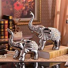 Europäische Stil Beschichtung Prozess Elefanten Ein Paar Dekoration Kreative Keramik Dekorationen Wohnzimmer Mesa Weinschrank TV-Schrank Dekoration