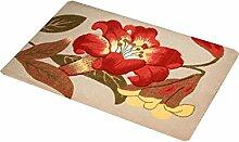 Europäische Stil Blumenmuster Anti-Rutsch-Teppich Wasserabsorption tragen Bad Halle Küche Schlafzimmer Wohnzimmer Eingang Teppich ( Farbe : B , größe : 58*88cm )