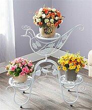 Europäische - Stil Bügeleisen Mehrstöckige Blumentopf Regal Pflanze Stand Kreative Wohnzimmer Balkon Blumenregal ( farbe : Weiß )
