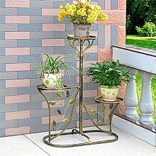 Europäische Stil Einfache Metall Blume Racks Innen-und Außenbereich Wohnzimmer Balkon 3 Ebenen Blumen Regal Montage Blumen Racks ( farbe : #3 )