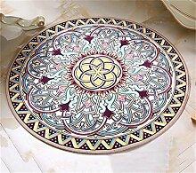 Europäische Stil Retro Runde Teppich Wohnzimmer Schlafzimmer Garderobe Couchtisch Teppich Runde Hocker Drehstuhl Stuhl Computer Stuhl Hängende Korb Matte ( Farbe : #2 , größe : Diameter-140CM )