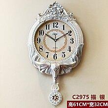 Europäische Swing Clock Clock Pendel Grosses Wohnzimmer Garten Modern Retro Mute Quarzuhr, 20 Zoll, Silber-C