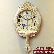 Europäische Swing Clock Clock Pendel Grosses Wohnzimmer Garten Modern Retro Mute Quarzuhr, 20 Zoll, Weiß-C