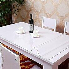 Europäische Tischdecke PVC-wasserdichte Tischdecke Anti-heiße weiche Glas-Tischdecke Plastik Tischdecke-Tischauflage-Auflage-transparente wolkige Kristall-Platte ( größe : 80*130cm )