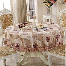 Europäische Tischdecke Runde Tischdecke, Leinen Tischdecke Startseite Runde Tisch Tischdecke Restaurant Couchtisch Tuch Tisch ( Farbe : B , größe : Round-260cm )