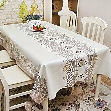 Europäische Tischdecke Wasserdichte Tischdecke PVC Tischdecken nicht waschen Tisch Matten Kaffeetisch Tuch Tisch Tee Tischdecke Kunststoff Tuch ( Farbe : A , größe : 137*182cm )