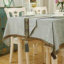 Europäische Tischdecke Western Restaurant quadratisch Tisch quadratisch Tisch Tuch Tisch Tuch Tuch Kaffeetisch Baumwolle Hanf klein frisch ( Farbe : B , größe : 130*180CM )