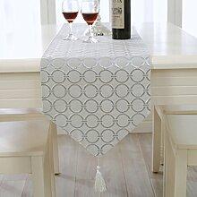 Europäische Tischläufer Einfach Modern Mode Tischdecke Tee Tischdecke Esstisch Tischläufer Tv-schrank Tuch Handtuch-A 33x210cm(13x83inch)