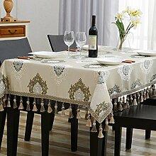 Europäische Tischtischdecke, Stoff rechteckiges Wohnzimmer Tisch Tischdecke, quadratische Tischdecke, runder Tisch , #4 , 140*140cm