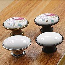 Europäische Türgriffe aus Metall Keramik die runde Kugel Küchenschrank Schrank Schrank Schubladengriffe Knöpfe Möbelzubehör, verchromte 00