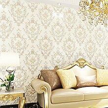 Europäische Vliestapete 3D Damaskus Luxus warme Schlafzimmer Wohnzimmer Tapete , 828202 elegant white