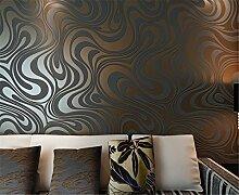 Europäische Vliestapete 3D dynamischem Kurven Tapete modernen minimalistischen Wohnzimmer Schlafzimmer TV Hintergrund Tapete 10mx53cm (golden)