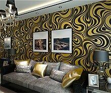 Europäische Vliestapete 3D dynamischem Kurven Tapete modernen minimalistischen Wohnzimmer Schlafzimmer TV Hintergrund Tapete 10mx53cm (lila Gelb und schwarz)
