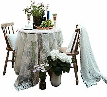 Europäische Weiße Spitze Tischdecke, Vintage