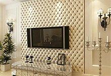 Europäischen Kunstleder Effekt Wohnzimmer TV Wand Tapete PVC Haarverdichtung 3D Stereo Tapete Tapete 10mx53cm, weiß