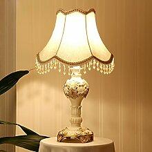 Europäischen Luxus hochwertige vergoldete Dekoration kreative Art und Weise Wohnzimmer Studie Schlafzimmer Nachttischlampe, Harz Lampenkörper, Schatten Tuch