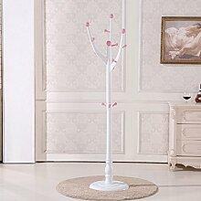 Europäischen Massivholz Kleiderständer Einfache Mode Kleiderbügel Kreative Baum Kleiderständer Schlafzimmer Landing Kleiderbügel Kleidung Rack Größe: 180x40x40 cm Einfach und stark ( Farbe : Pink )