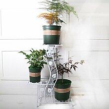 Europäischen Stil Ackerland mehrstöckige Blume Rack / Boden-Stil Leiter Töpfe Regal / Balkon verbrachte ein paar ( Farbe : Weiß )