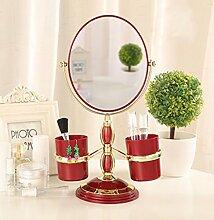 Europäischen Stil Desktop-Make-up-Spiegel mit Seiten versehen Princess Mirror Vanity Spiegel , 7 inch objective (red oval)