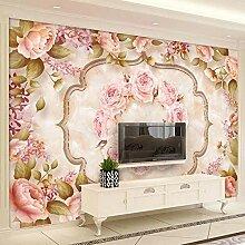 Europäischen Stil Marmor Fliesen Tapete 3D Blumen