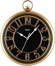 Europäischen Stil Metall Hohl Zeiger Retro Taschenuhr Wanduhr Europäischen Stil Wohnzimmer Kreative Hängenden Tisch Stille Kreative Elektronische Quarzuhr -Wall clock ( Farbe : A )
