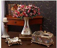 Europäischen Stil Multifunktions-Tissue-Box Drei Sätze Dekoration Getrocknete Obst-Platte Home Set Kreatives Wohnzimmer Dekoration Dekoration Desktop Resin American Stil Lagerung Kartons , f
