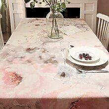 Europäischen Stil pink Blumen Deko Tischdecke, Baumwolle, Verdickte Tisch Displayschutzfolie, rechteckiger Tisch Cover für Esszimmer Küche, baumwolle, blumenmuster, 35.4x55In
