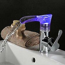Europäischen Stil Retro-Waschbecken Wasserhahn Alle Kupfer Wasserhahn Wasserfall Wasserhahn LED-Hahn-Waschtischarmatur SLT